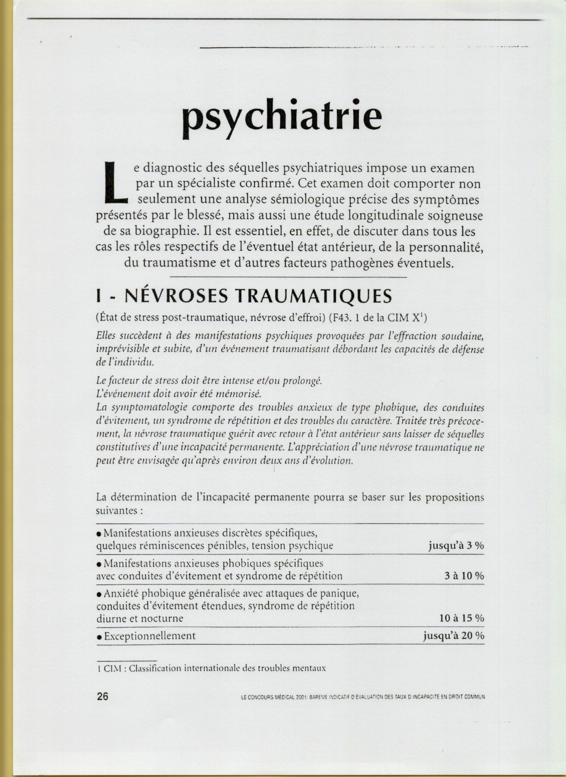 Le barème indicatifd'évaluation des taux d'incapacité en droit  commun psychiatrie